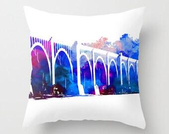 RVA, Richmond VA, Art, CSX, Train Bridge, Watercolor Pillow