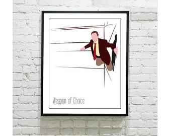 "Christopher Walken Digital Art Print - Weapon of Choice - Fatboy Slim - Music Art - 8""10"" Print"