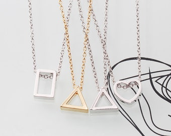 Gold or Rhodium Plated, Simple Heart or Rectangle or Triangle Charm, Necklace