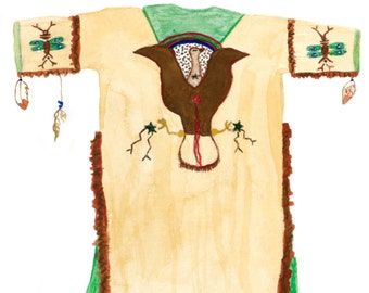 "Native American Inspired Art, Giclee archival watercolor print, Southwestern Art ""Brown Ghost Dance Shirt"""