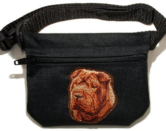 Shar Pei (Sharpei) embroidered dog treat waist bag (treat pouch). For dog shows and training. Great gift for breed lovers.