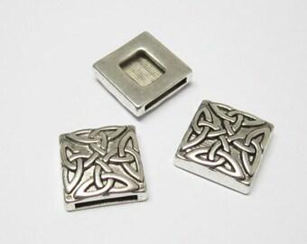 10pcs Square flower slider 13x2mm Flat leather bracelet findings