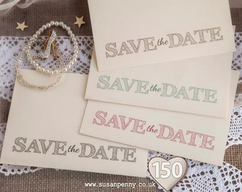 """Save The Date Envelope, Wedding Envelope, Quantity 150, Rustic Envelope, C6 Printed Envelope, 4 1/2 x6 3/8"""" Envelopes, Ivory Laid - PSS051"""
