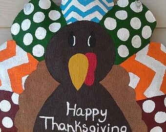 Happy Thanksgiving Turkey Burlap Door Hanger