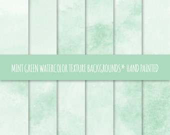 Mint Green Watercolor Texture Digital Paper; Hand Painted Watercolor Backgrounds ~ Watercolor Scrapbook Paper ~ Watercolor Card Background
