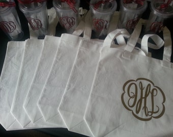 Monogrammed Bridesmaids Gifts - Set of 6 Tote Bags and 6 Tumblers