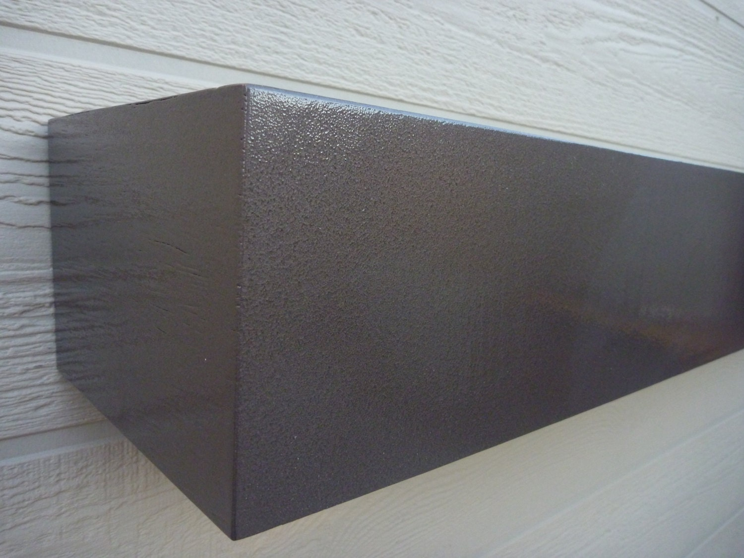 Brown Hammered Stainless Steel Look Shelves. Wall Floating