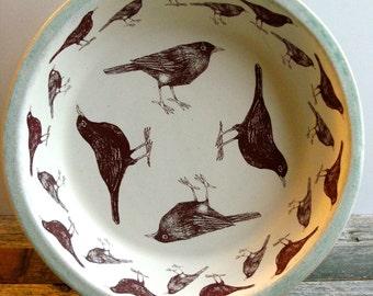 "Four and twenty blackbird pie plate,  bird pie dish, blackbird pie plate. 9"" pie.  Stoneware, sing an song of sixpence."