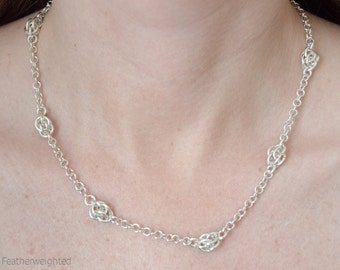 Silver droplets chain necklace   handmade jewelry for charity.