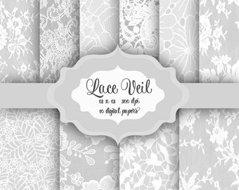 White LACE Digital Paper Pack -Vintage wedding bridal romantic lace pattern backgrounds for scrapbooking, wedding invitations-Commercial use