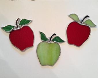 Handmade Stained Glass Apple Suncatcher