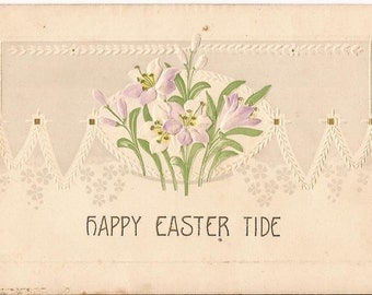 """Antique Easter postcard, embossed, bouquet of crocus, """"Happy Easter Tide"""", printed in Germany, never posted."""