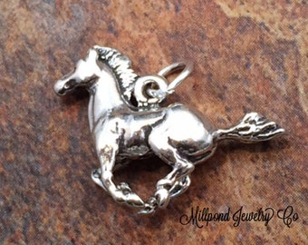Horse Charm, Horse Pendant, Running Horse Charm, Sterling Silver Charm