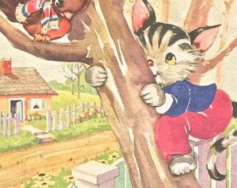 Vintage color children's book illustration Ruth Newton cat up a tree bird digital download image Clip Art dpi 300