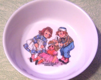 1969 Oneida Deluxe Raggedy Ann and Andy melmac melamine child's cereal dish bowl