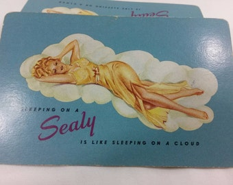 RARE! Vintage Sealy pinup girl in bed playing card deck art done by Antonio Vargas blue full used deck NO BOX