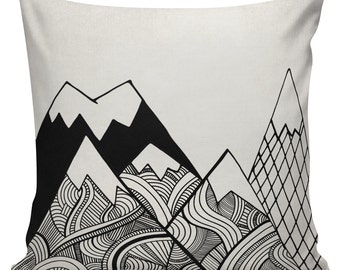 Geometric Mountain Cushion Pillow Cover cotton canvas throw pillow 18 inch square #UE0152 Mountains