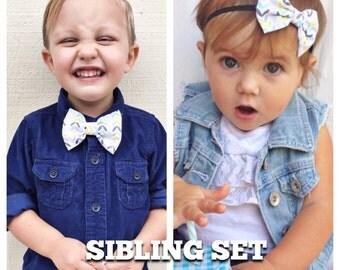 Blue & yellow arrow bow Sibling set