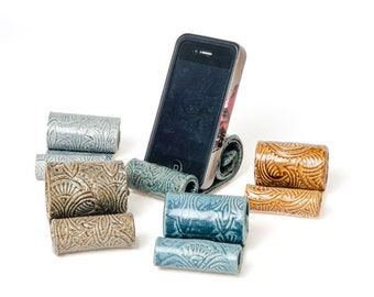 Ceramic cell phone holder, Parkmiphone, business card holder, recipe card holder