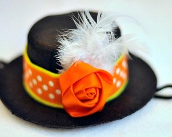Pumpkin Polka Dot MINI Top Hat SnuggleHat! - Interchangeable Bands! Customize! - Free Shipping!