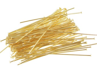 All Gauge - 25pcs Gold Filled flat Cupped head Headpin pin (All Sizes)