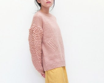 Pink fringe-knit boxy wool sweater (custom handmade, lead-time is 1 calendar month,other colours available)