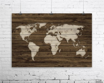 World Map Wood Wall Art rustic wood large world map poster wood wall art print gifts