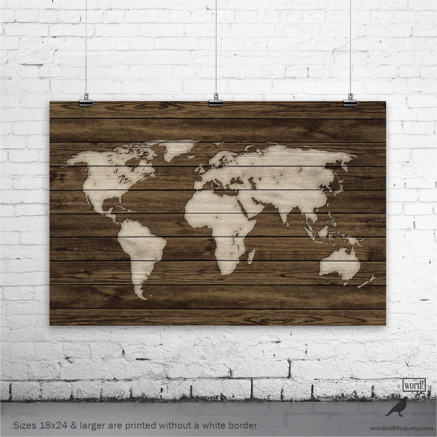 World Map Poster Rustic Map Poster Rustic Decor Rustic Wall