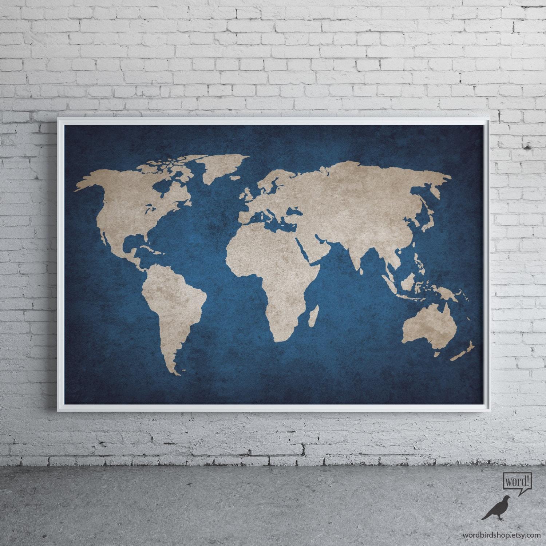 navy blue rustic world map print old world map indigo cobalt blue large world map poster - World Map Decor