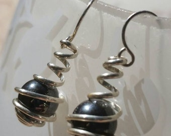 Hematite in Sterling Silver Wire Spiral Wrapped Caged Dangle Earrings