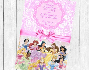 On Sale-Disney Princess thank you card Birthday Princess Invitation - Printable Princess Birthday Party ty card-Disney Party