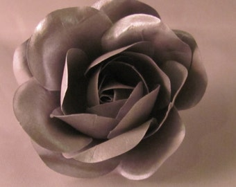 Paper Rose Flower Lapel Pin - Metallic Silver - Everyday / Weddings / Proms