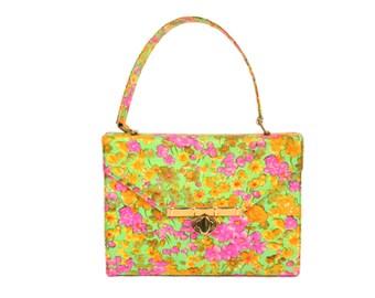 Vintage 60s Silk Handbag Box Purse Florescent Floral Bag Womens Spring Summer Fashion Accessory 1960s