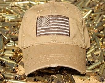 Distressed khaki American Flag Hat