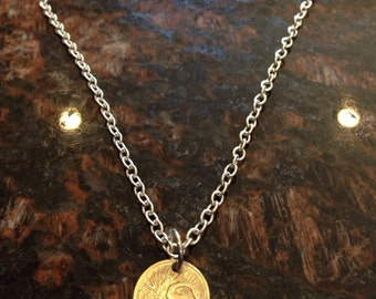 Singapore 5 cents coin necklace
