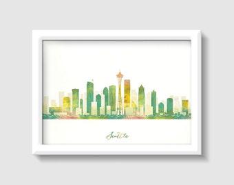 Seattle City Skyline, Three colors choice Digital Watercolor Art Print, Modern Home Decor