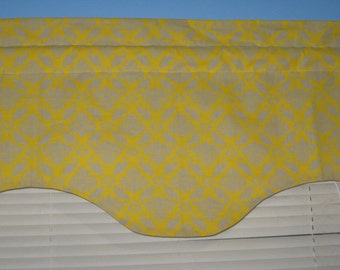LINED Pink orange blue yellow white grey damask SCALLOP window curtain valance
