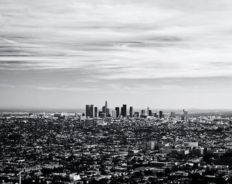 Los Angeles Photography, LA Photography Printed Art. Cityscape art. Los Angeles Black and White Cityscape. LA wall decor photography print.