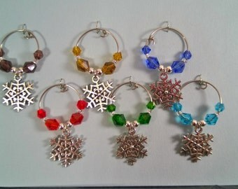 Holiday and Seasonal Themed Wine Charm Sets in Gift Box - Set of 5 or 6 Handmade wine charms with holiday or seasonal theme