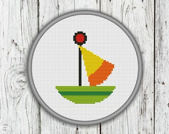 Little Cute Sailboat Counted Cross Stitch, Boat, Sail, Sea, Ocean, Needlepoint Pattern - PDF, Instant Download