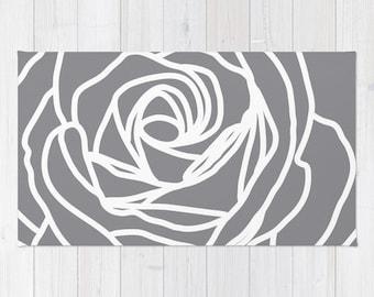 Rose Area Rug - Modern Flower Rug - Grey Area Rug - Nursery Area Rug - Rose Area Rug - Home Decor