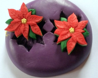 Poinsettia  Silicone Mold, Christmas Silicone Molds, Fondant Molds, Jewelry Molds, Polymer Clay Molds, Resin Molds, Winter Molds, Food Safe