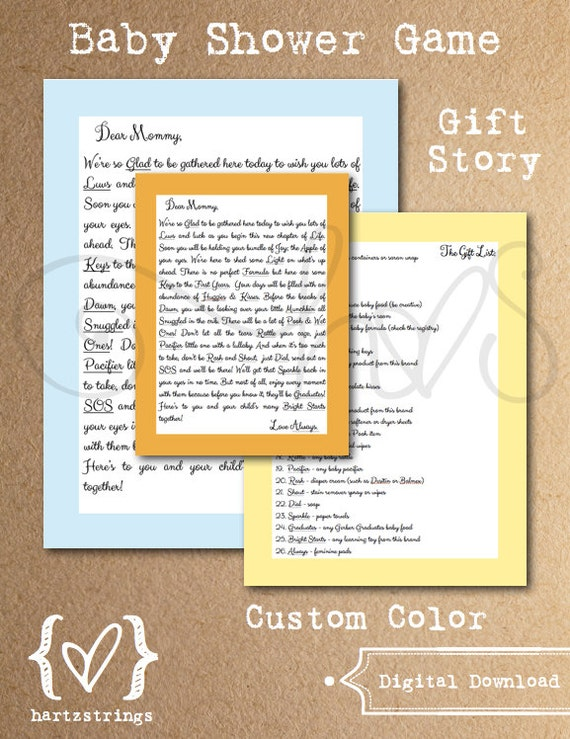 baby shower game gift story choose your custom by hartzstrings
