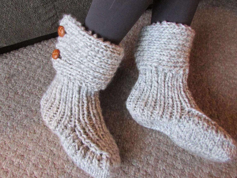 Light Grey Knitted Cozy Slippers Slipper Socks Grey