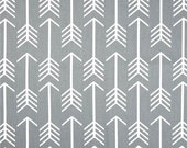 Grey Arrow Fabric by the Yard, Cotton Home Decor Fabric, Drapery or Upholstery Yardage, Designer Gray Fabric, Tribal Arrow Grey Fabric G119