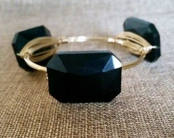 Large Black Crystal Stone Wire Wrapped Bangle