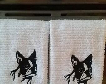 Boston Terrier  Kitchen Towel set of 2