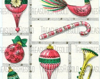 Retro Bulb Ornaments Christmas Card #367 Digital Download