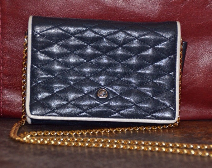 Estate Vintage Quilted Navy Leather with White Trim Crown Lewis Shoulder Bag Clutch