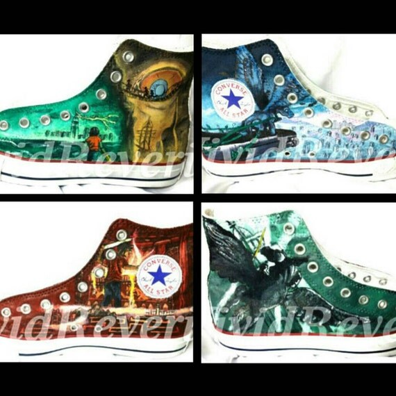Percy Jackson Hand Painted Shoes Including art inspired by each of the    Percy Jackson Hermes Book